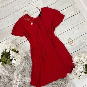 NWT Hot Springs Lace Up Dress in Red by MINKPINK
